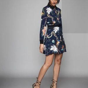 Reiss   Gilda Rainforest Printed Shirt Dress Navy